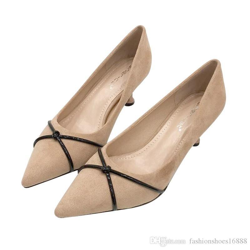 a5249e71959 Acheter Bout Pointu Beaux Talons Nude Noir Pompes Femmes Chaussures Élégant  Simple Sexy Fines Bretelles Partie Talons Hauts Mesdames Pompes Chaussures  De ...