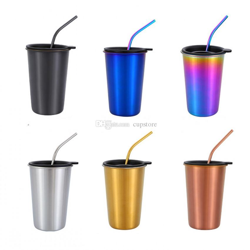 54aea22501cf3 Compre 500 Ml 304 Tazas De Café De Acero Inoxidable Paja De Metal  Reutilizable Vaso Pint Al Aire Libre Acampar Taza De Viaje Jugo De Beber Té  Tazas De ...