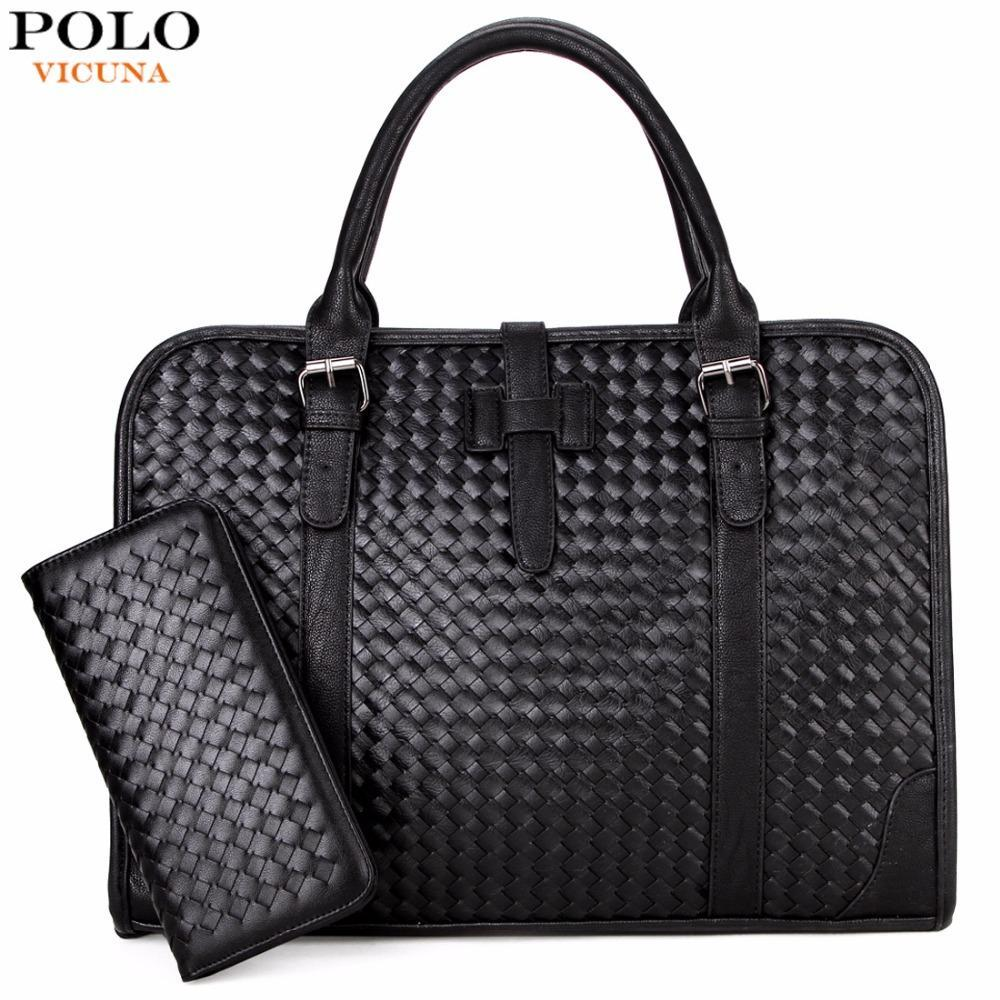 VICUNA POLO Personality Knitting Men Handbag With Wallet Cool Black Men S  Briefcase 15inch Mens Laptop Bag Business Man Bag Hot Pink Handbags Travel  Purse ... 07b475841874a