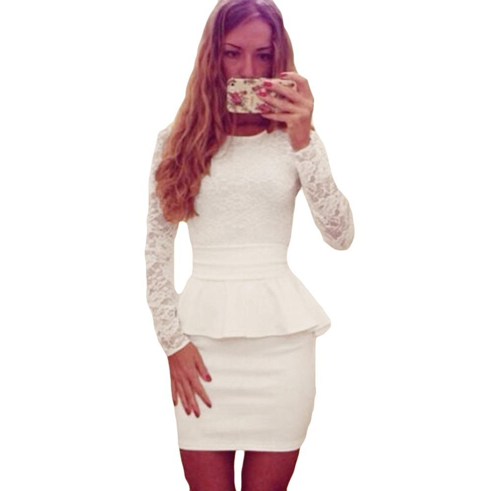 753eed256cab9a Sexy Women Lace Splice Pencil Dress Peplum Waist O Neck Long Sleeve Evening  Party Mini Dress Bandage Bodycon Clubwear Vestidos Y190426 Sundress Outfits  ...