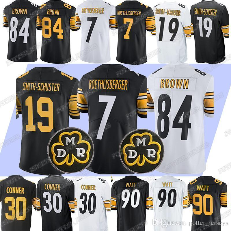 buy popular a8e84 eaf4a 7 Ben Roethlisberger Steeler Jersey 19 Juju Smith-schuster 84 Antonio Brown  Jerseys 30 James Conner 90 -t.j. Watt Football Jerseys.