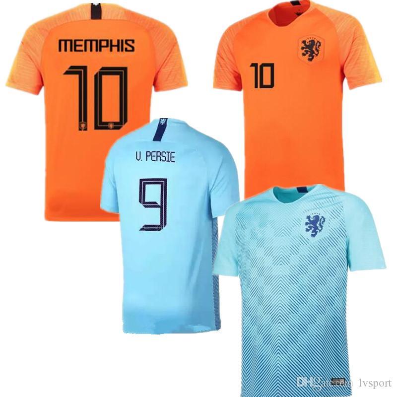 09d7afaae1c7e Compre 2019 Holanda Casa Camisola De Futebol 18 19 Liga Nacional Da UEFA  JERSEY Holanda Fora Memphis SNEIJDER V.Persie Camisas De Futebol Holandesas  De ...