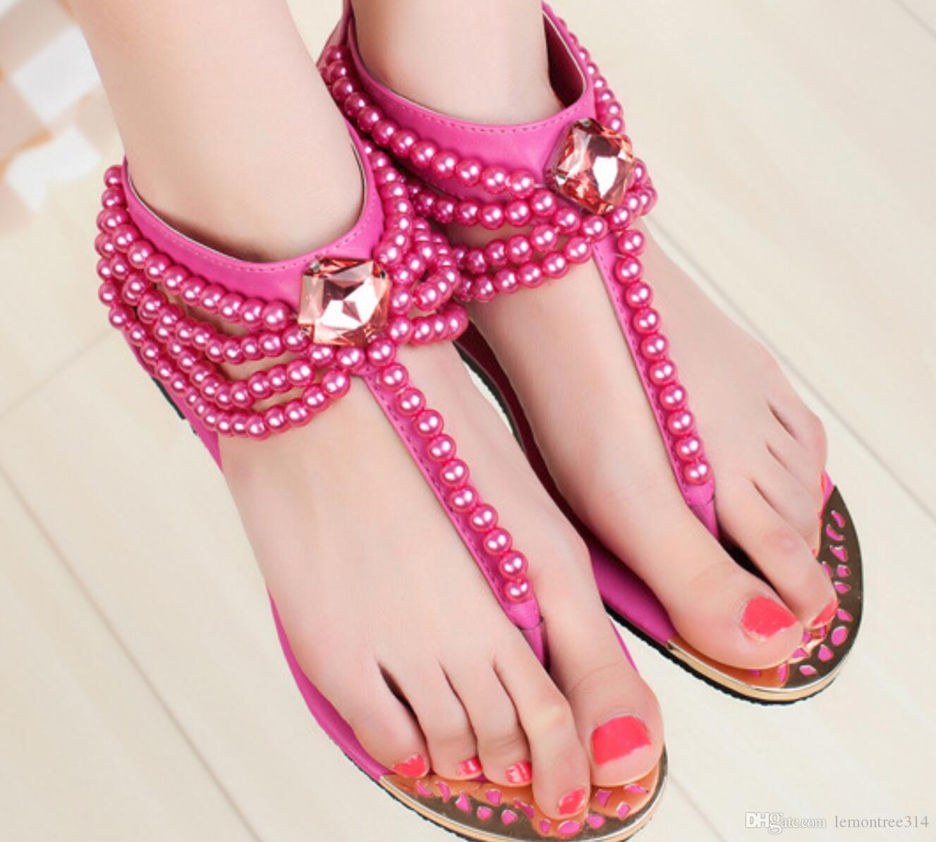 9aa94a8d582 Womens Bohemia Flip Flops Beading Beach T Strap Flat Sandals Rhinestone  Sandal Thong Shoes Lady Casual Shoes Ankle Strap Flip Flop Cheap Sandals  Summer ...