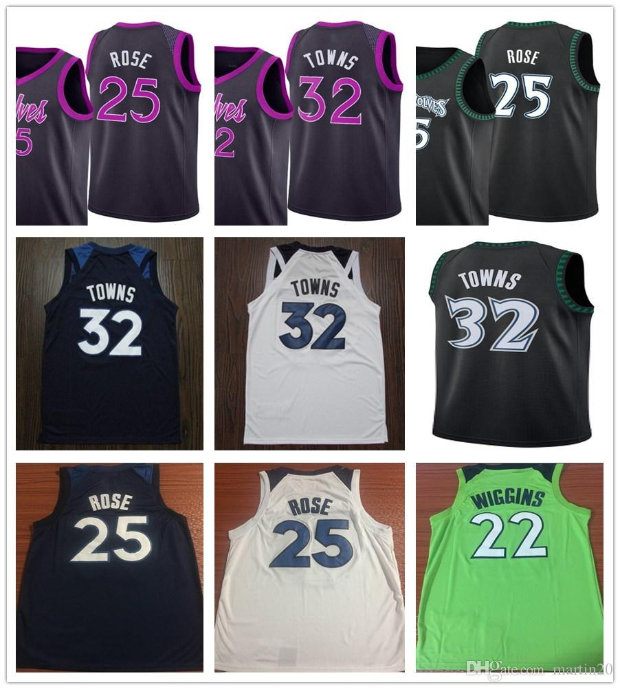 789bd03dc ... clearance 2019 2019 new purple city edition 32 karl anthony towns  jerseys black green white 25 ...