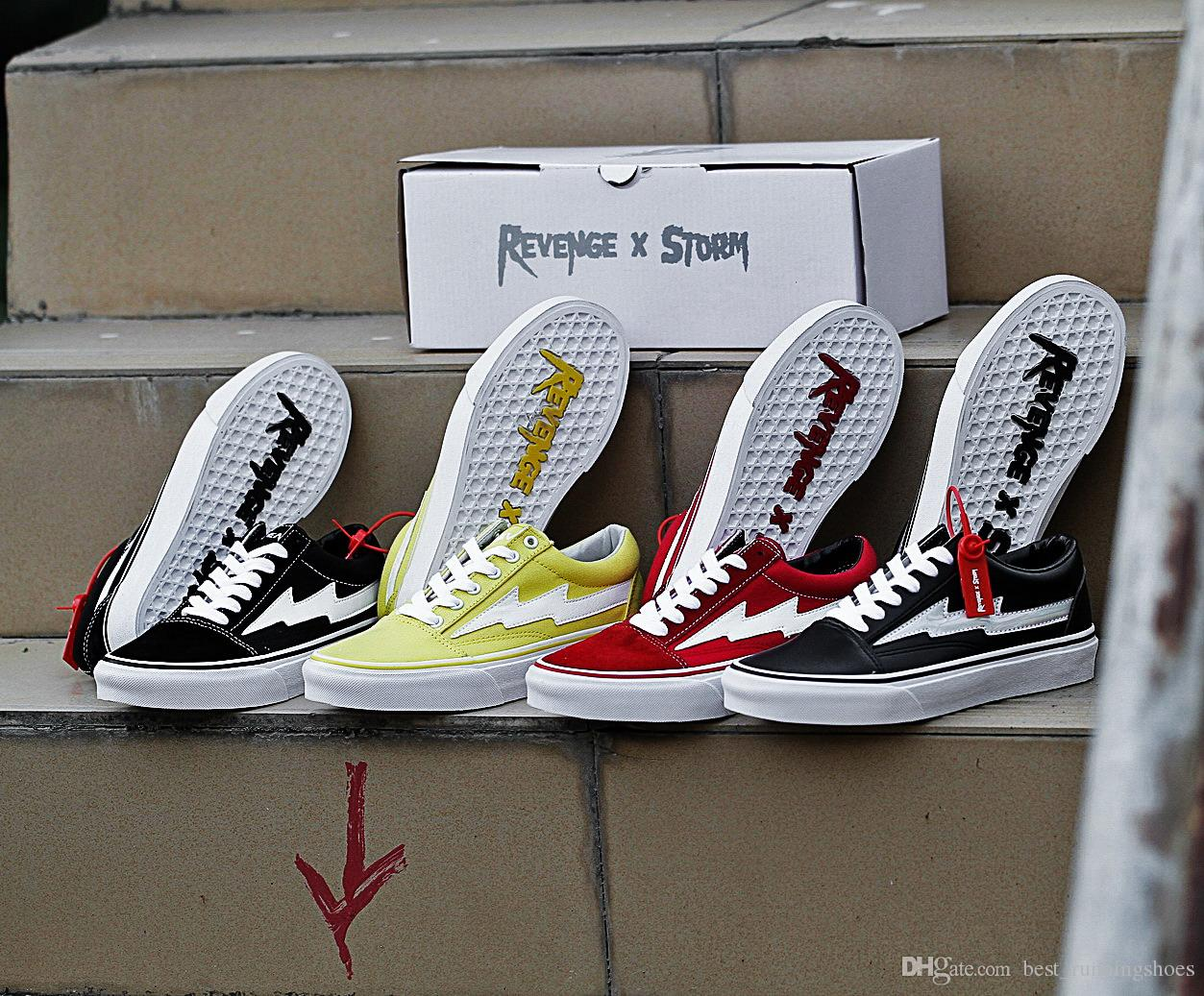 cb32f9c08a6e 2019 REVENGE X STORM Old Skool Skateboard Revenge Of The Storm Canvas  Casual Skate Shoes Joint Lightning KANYE Sneakers Trainers Size 36 44 From  ...