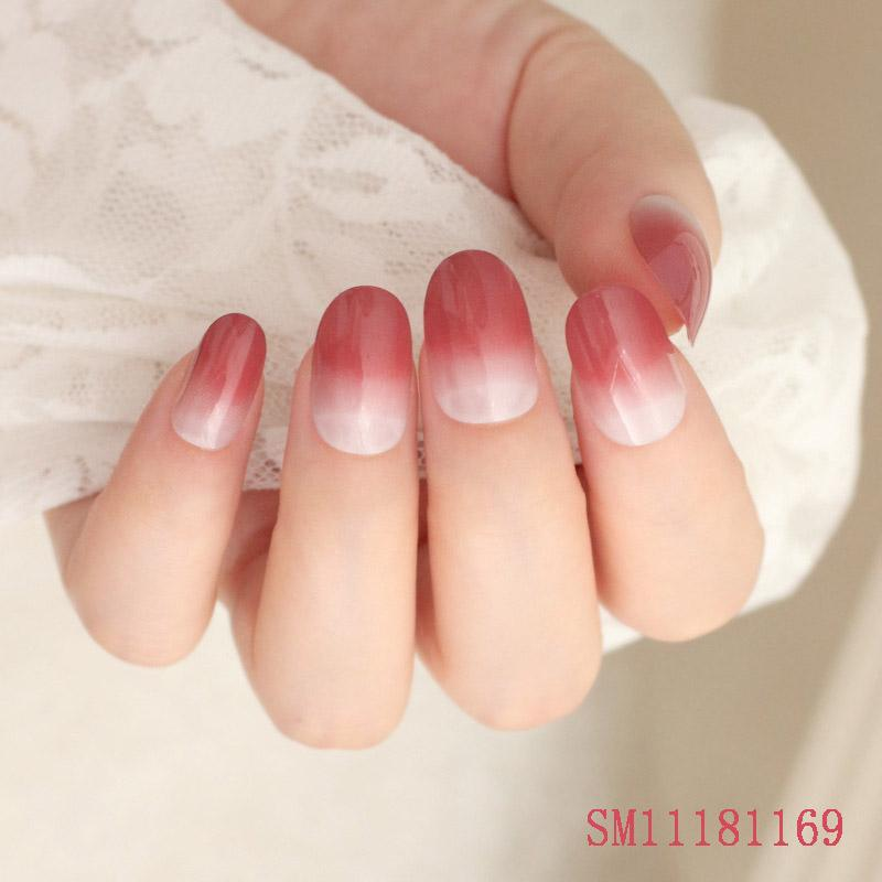 24Pcs/Set Fake Nails Tips Tops Finish Wedding Brides Nail Art Tips Decor KG66