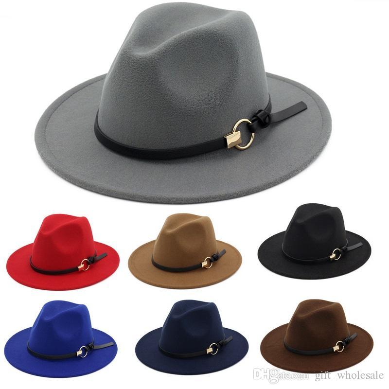 fce933620 2019 New Fashion TOP Hats For Men & Women Elegant Fashion Solid Felt Fedora  Hat Band Wide Flat Brim Jazz Hats Stylish Trilby Panama Caps From  Gift_wholesale ...