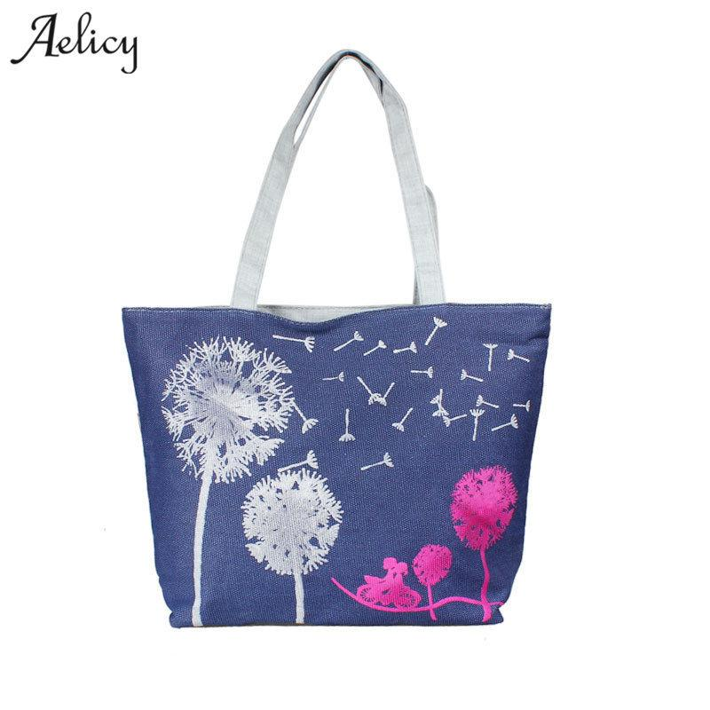 Cheap Fashion Aelicy Women Canvas Handbag Printed Shoulder bag Female Large Capacity Ladies Beach Bag Women Canvas Tote Shopping Handbags