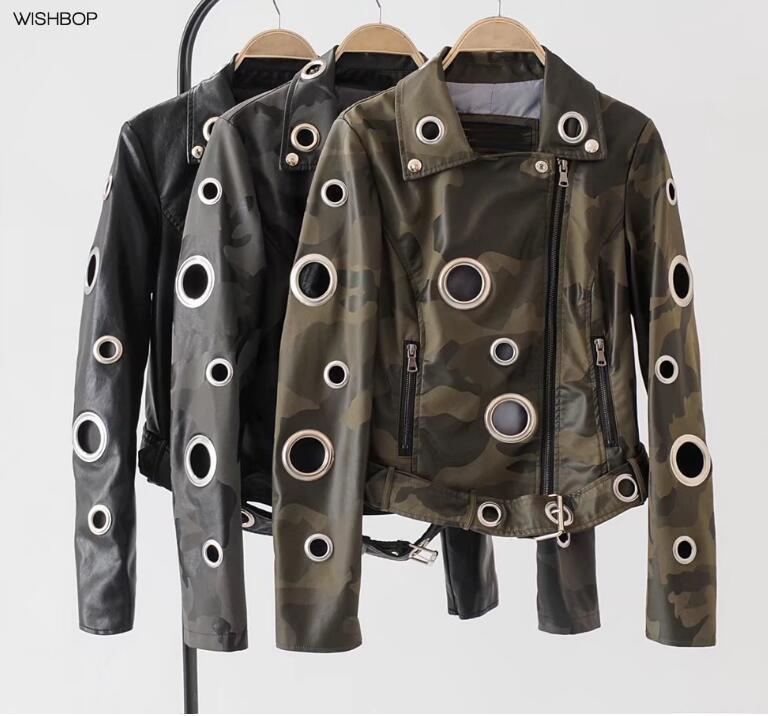 80c40c3f85979 2019 2017 Woman Fashion Camouflage Print Faux Leather Jacket With Big Metal  Eyelets Holes Lapel Collar Hem Buckle Belted Long Sleeves From Suspender,  ...