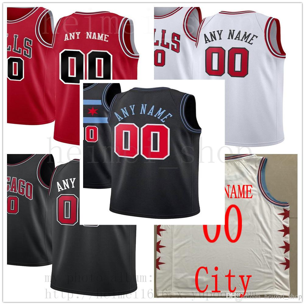 new style 8707c 2f338 Custom Printed ChicagoBullsJerseys Top Quality Mens 2019 New Man Red Black  White City Jersey. Message number and name on order