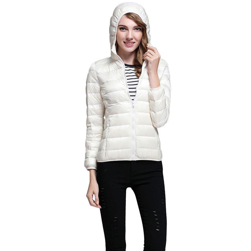 3252c4981 Popular Sale! Korean Women Ultra Light Puffer Jacket Solid Hooded Zippers  Puffer Coat Down jacketComfortbal TOP