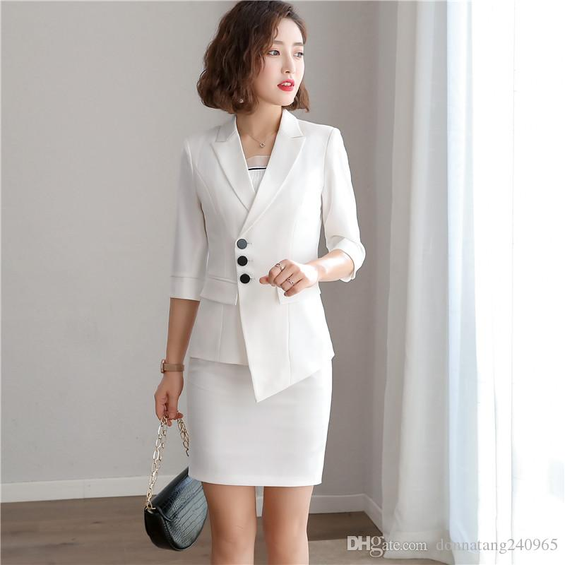 0691be65f2 Women Irregular Blazer Skirt Jacket and Slim Pencil Skirt 2 Pieces Set  Female Wear to office Business Set