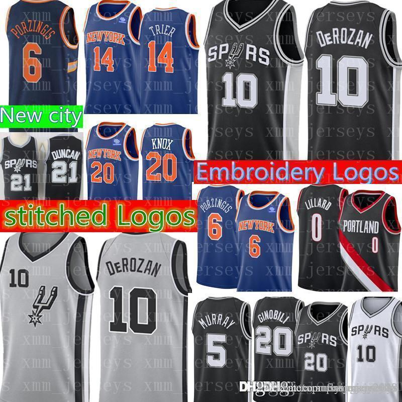 official photos 16522 a6806 Demar 10 DeRozan Spurs Jersey Mens Dejounte 5 Murray Manu 20 Ginobili  Allonzo 14 Trier Kevin 20 Knox Damian 0 Lillard Jerseys