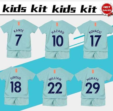4ca83d46a Compre   10 HAZARD Futebol Jersey Crianças Kit 18 19   7 KANTE Casa Menino  Azul Camisas De Futebol 2019 Camisas De Futebol Da Criança Uniforme   9  MORATA ...