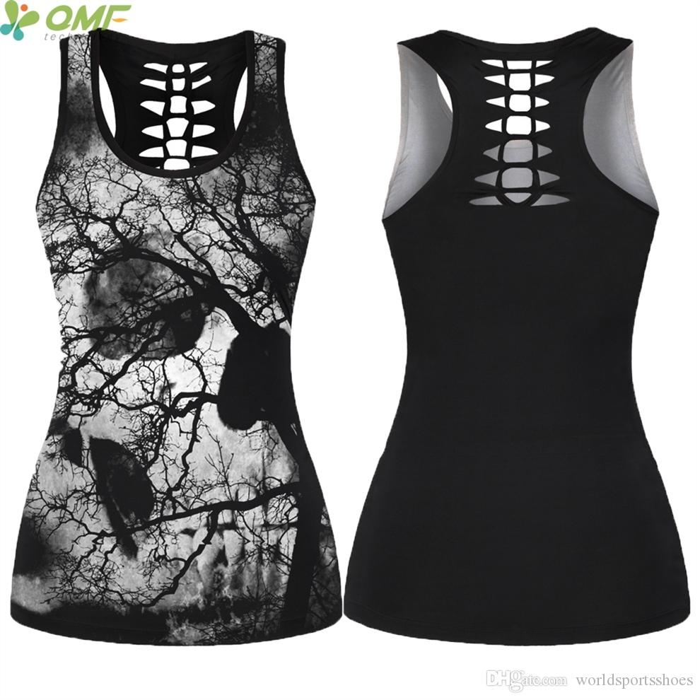 b7e9c5ab4d9ae6 2019 Abstract Trees Skulls Yoga Shirts Female Halloween Cross Back Running Tank  Tops Hollow Out Outer Sport Vest Backless Tees  321232 From  Worldsportsshoes ...
