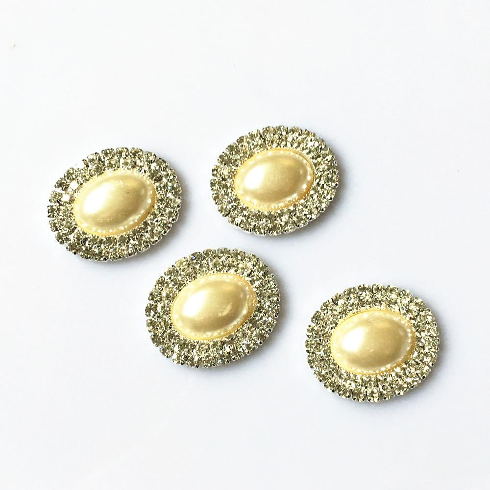 15482f18d3 20Pcs 28X25mm Double Rows OVAL Pearl Rhinestone Button Flatback Wedding  Embellishment Buckles DIY Accessory