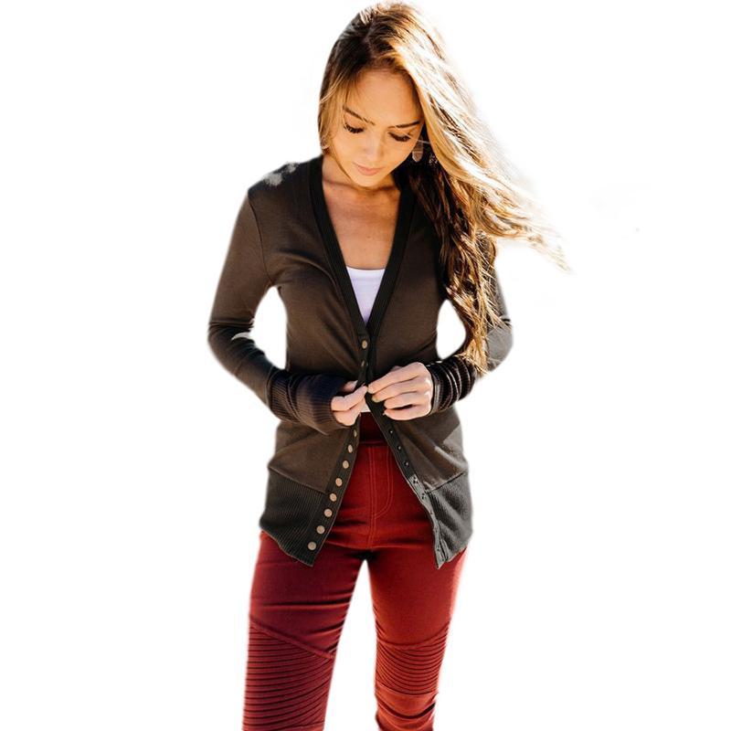 am besten geliebt beliebte Marke amazon Frauen Casual Cardigan Button Front V-Ausschnitt Langarm Feste Dünne Dünne  Oberbekleidung Strickjacke Langarm Kimono Damen Kaffee / Schwarz