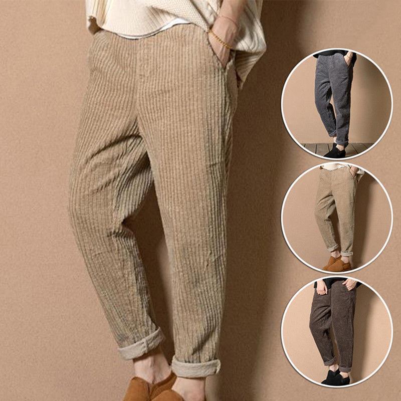 eab61e2031 Compre Moda Pantalones Rectos Mujeres Pantalones De Pana Otoño Invierno  Vintage Cintura Elástica Casual Pantalones Harem Tallas Grandes M 4XL A   23.48 Del ...