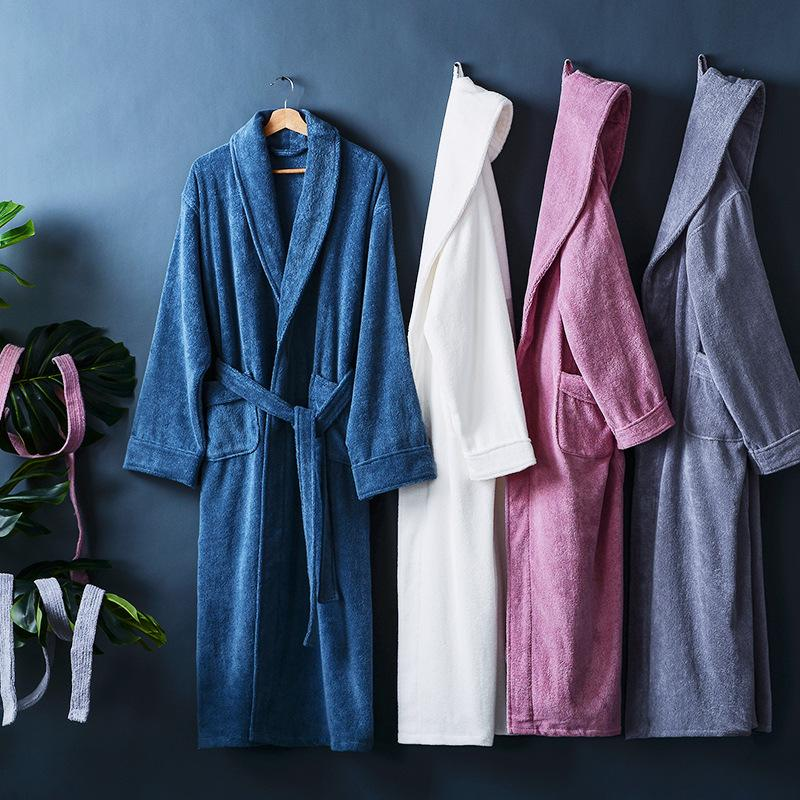 e029494c02 2019 Five Star Hotel Winter Thick Combed Cotton Bathrobes Sleepwear Robes  Unisex Nightgown Pajamas Absorbent Terry Bathrobes Pijamas From Dufflecoat