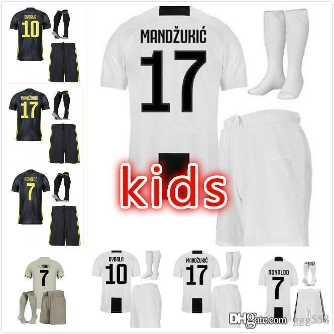 super popular 12651 8a6e5 18 19 JUVENTUS home third Kids kit RONALDO Soccer Jerseys 2018 2019 JUVE  Home Third jersey DYBALA MANDZUKIC BUFFON CR7 child soccer jersey