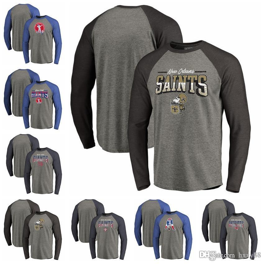 premium selection c67b8 f3575 New York Giants New Orleans Saints New Patriots Pro Line by Fanatics  Branded Logo Big & Tall Long Sleeve Tri-T-Shirt