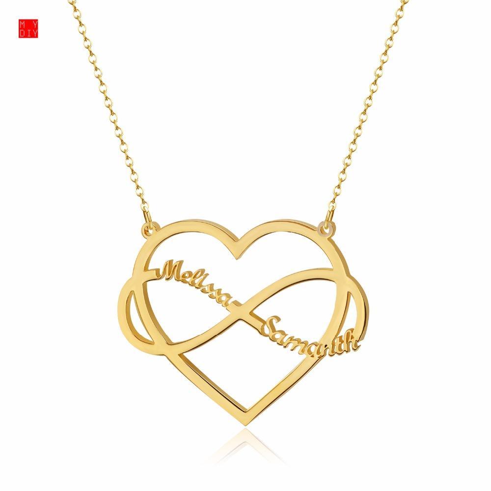 5f94cc9b24a0 Compre Corazón Nombre Infinito Collar De Plata De Ley 925 Gargantilla Collares  Personalizados Colgantes Regalo Romántico Joyería Personalizada A  28.79  Del ...