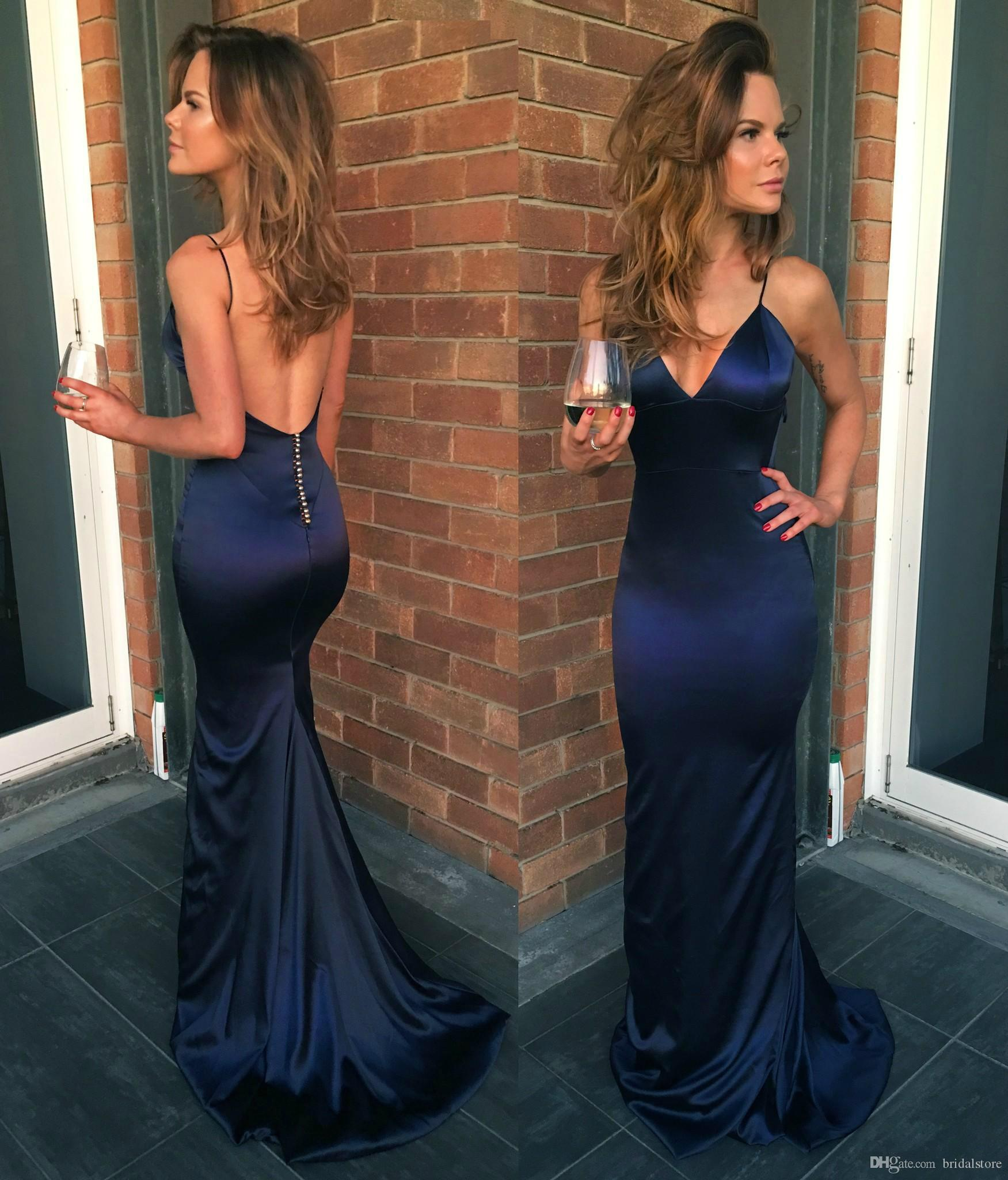 Sexy Navy Blue Prom Dresses Free Shipping Spaghetti Straps Backless Sweep Train Mermaid Formal Occasion Evening Dresses