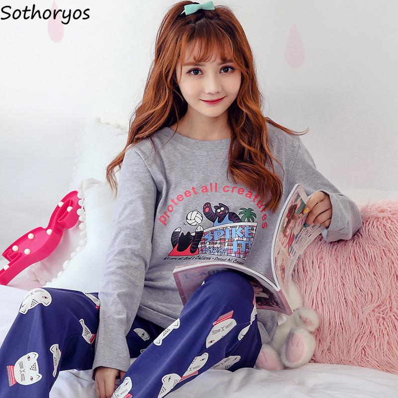 6540e2a8535 2019 Pajama Sets Women 2018 O Neck Printed Kawaii Long Sleeves Pajamas  Womens Two Piece Autumn Soft Cotton Homewear Set Cartoon Cute From Wudee