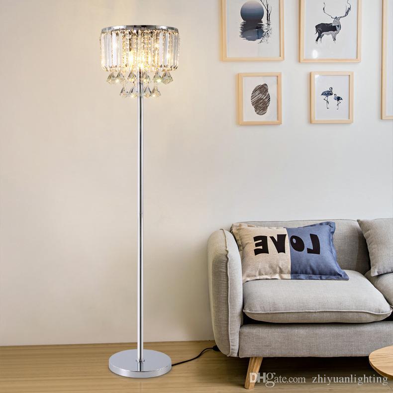 Luxe moderne royal Lampadaire Simple moderne étude de cristaux led étage  lumière pour chambre salon salle d\'étude