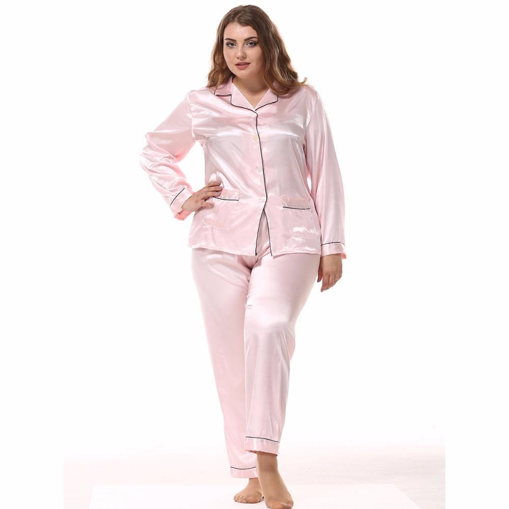 d4f9e76287 2019 L XXXL Women Plus Size Pajamas Set Satin Long Sleeves Turn Down Collar  Pocket Top+Pants Silk Sleepwear Loungewear From Jasm