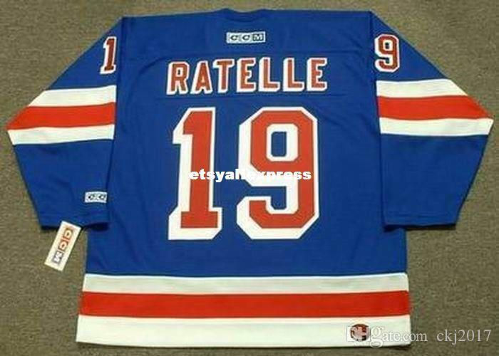 custom Mens JEAN RATELLE New York Rangers 1972 CCM Jerseys Away Cheap Retro Hockey Jersey