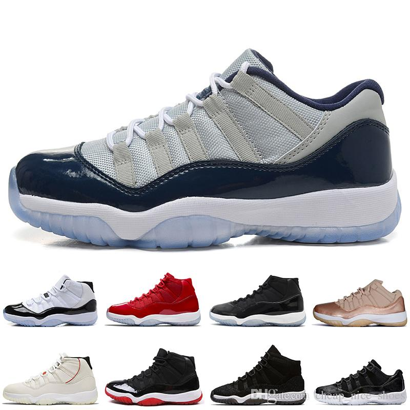 b794ed90ee6 NEW 11 11S Low Rose Gold Space Jams 45 Mens Basketball Shoes Platinum Tint  Low Varsity Red Heiress Black Stingra Men Sport Sneakers Trainers Sneakers  For ...