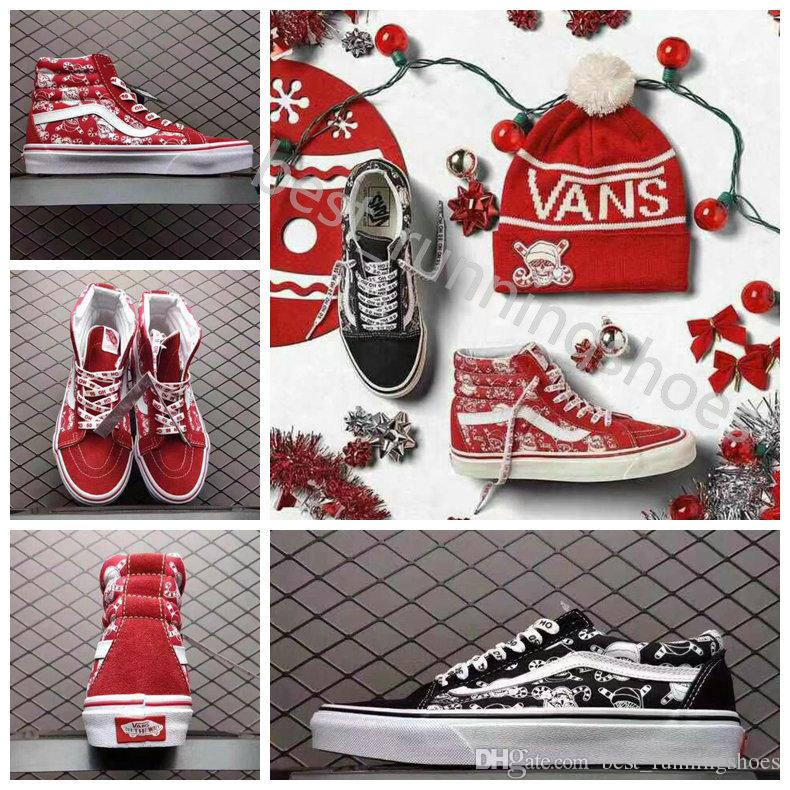 cef1ddf5cc5 2019 2019 VANS Old Skool 50th Anniversary Red Christmas SK8 Hi Classic Women  Men High Top Low Canvas Casual Skate Shoes Mens Trainers Sneakers From ...