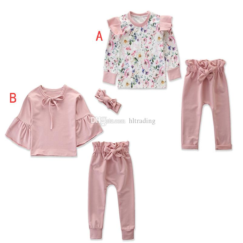 2019 new hot girls autumn fashion trumpet outfits and print floral Ruffle long-sleeved top + trouser suit suit pink casual wear M045
