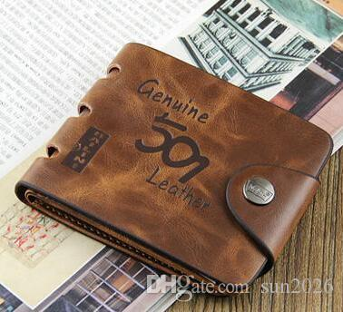 Brown fashion style men purse wallet 501 quality leather soft bifold credit card holders wallets for men free shipping