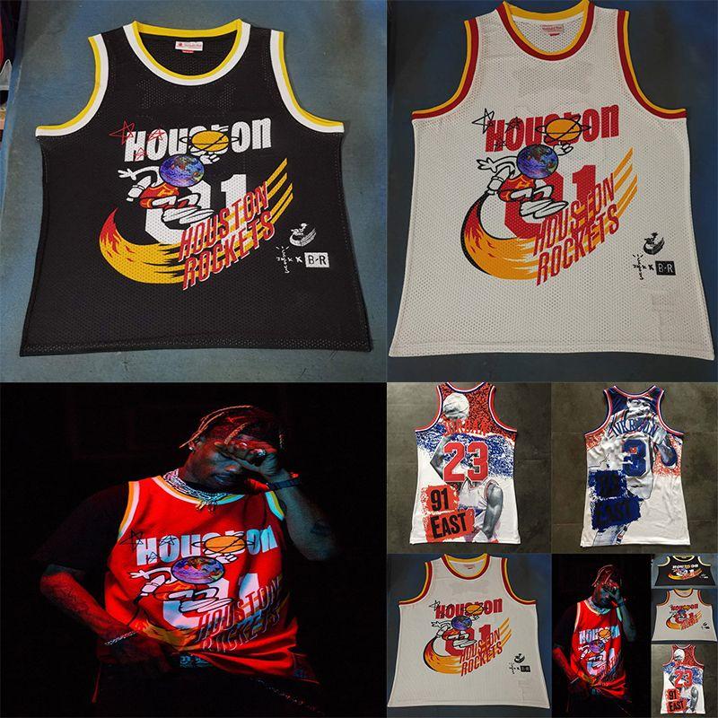 8e0d582e9175 2019 Travis Scott X BR X MN 01 Jack Report All 91 Star 23 Michael MJ 03  Star Allen 3 Iverson All Over Eastern Western T Shirt Basketball Jersey  From ...