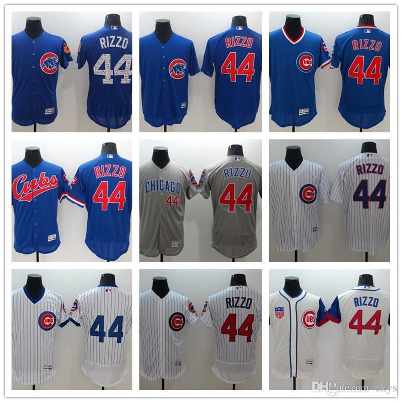4e2b1e163 2017 Hot Men's Chicago Cubs Jersey 44 Anthony Rizzo Baseball Cool ...