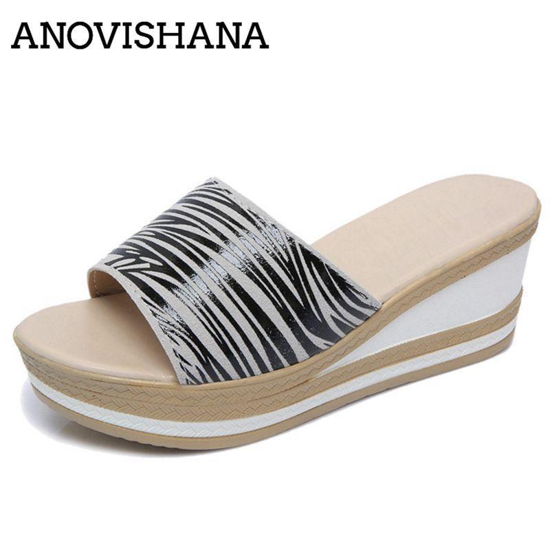 114e3725 ANOVISHANA women slippers mules summer shoes woman wedges high heels slides  beach slipper platform stripe zapatos mujer beige