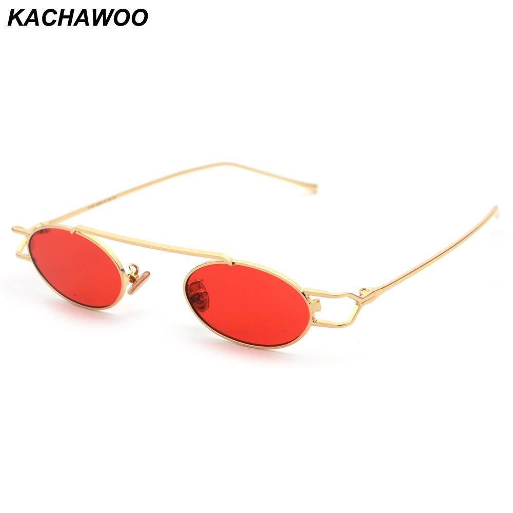 d631b55b5fe41 Compre Kachawoo Retro Vintage Óculos De Sol Para Homens Estilo De  Tendências Vermelho Amarelo Oval Óculos De Sol Das Mulheres De Metal Pequeno  Quadro De ...