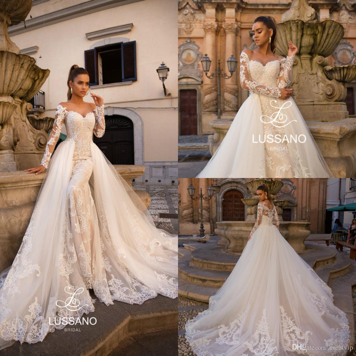Lussano 2019 Mermaid Beach Wedding Dresses With Detachable Train Sweetheart  Lace Long Sleeve Boho Bridal Gowns Plus Size Vestidos De Noiva Tea Length  ... d601496a7c45