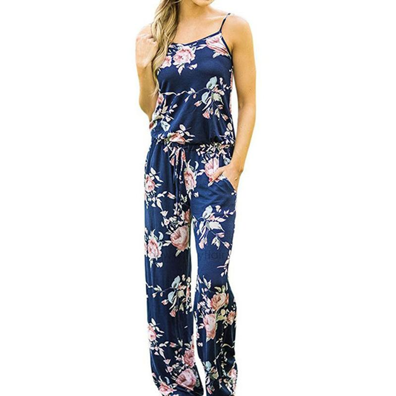 fa6e775fc3 Spaghetti Strap Floral Printed Women Jumpsuit Rompers 2019 New Bohemian  Long Playsuits Body Loose Pants Jumpsuits Overalls GV736 Online with   45.22 Piece on ...