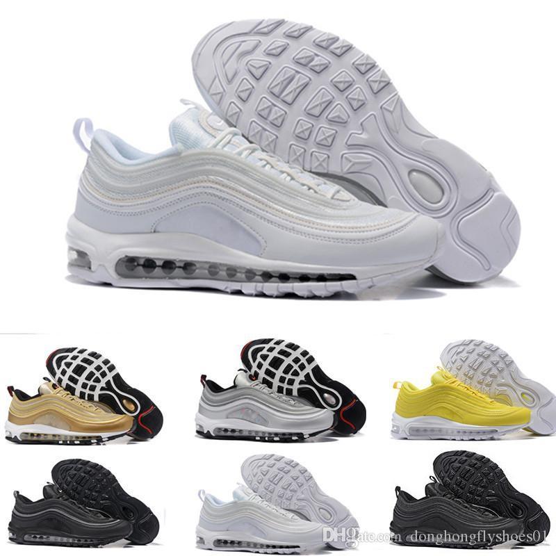 nike air Vapormax max 97 Et Femmes Chaussures De Course Balck Métallique Or South Beach PRM Jaune Triple Blanc Designer Femmes Sport Sneakers