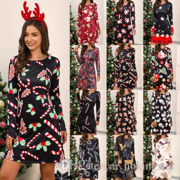 Plus Size Christmas Dress O Neck Long Sleeve Deer Snow Man Print Dress  Women Clothes Casual Loose Flare Party Dresses