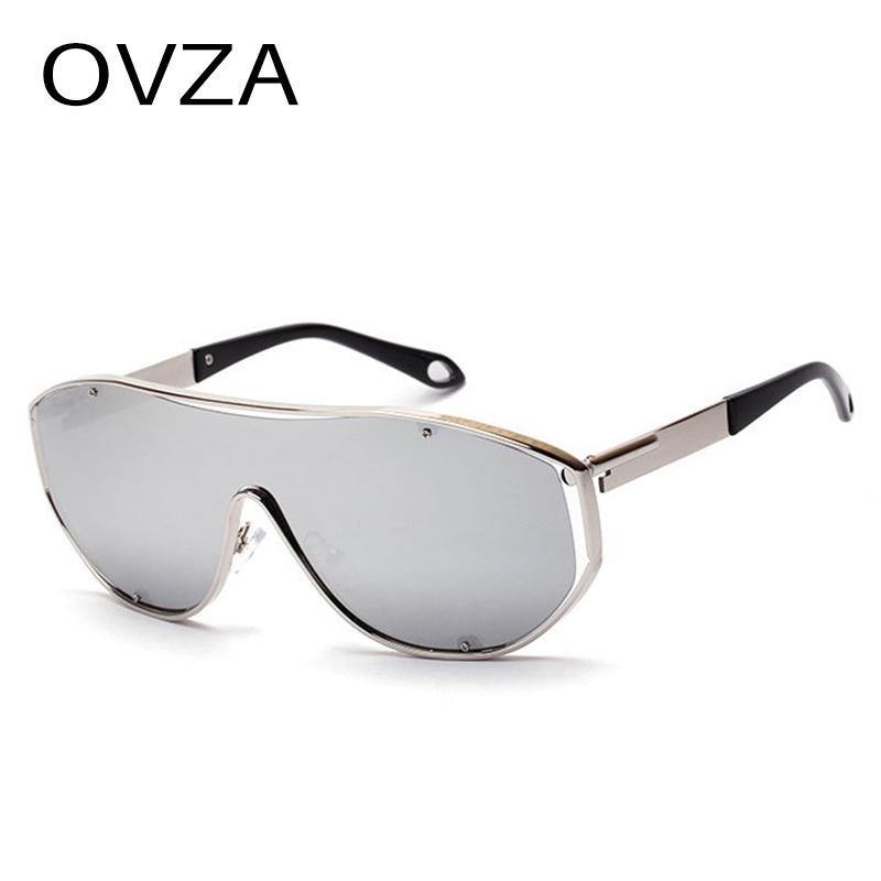d31bca3378 OVZA Oversized Sunglasses for Women Fashion Reflective Mirror ...