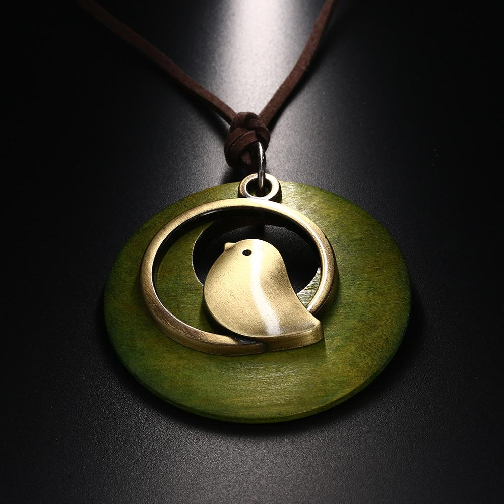 1 قطع امرأة المجوهرات بيان القلائد المعلقات الطيور خشبية الخرزة قلادة خمر قلادة طويلة قلادة المرأة الكريسمس هدية