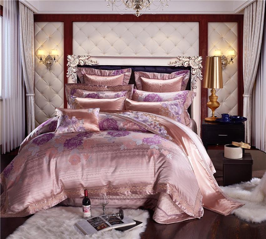 0718812197 Compre Cor Rosa De Algodão De Luxo De Cetim Jacquard Conjunto De Cama Queen  Size Rei Conjunto De Cama De Casamento Folha De Cama   Spread Set Duvet  Cover ...