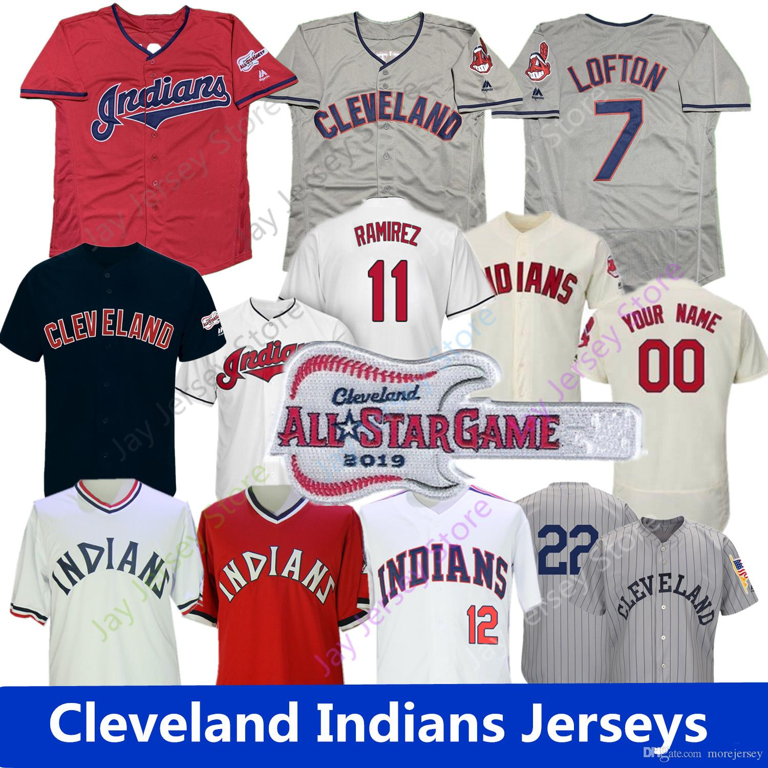 the latest eff54 3942f 2019 Cleveland Lindor Jersey Indians Lofton Thome Ricky Vaughn Zimmer  Ramirez Kluber Clevinger Kipnis Naquin Santana Bauer Men Women Youth