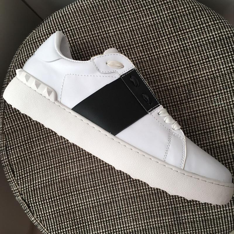New 2019 Men Women White Leather With Black Patchwork Low Top Platform Sneakers,Designer Brand Lovers Lace Up Rivets Casual Shoes 35-45