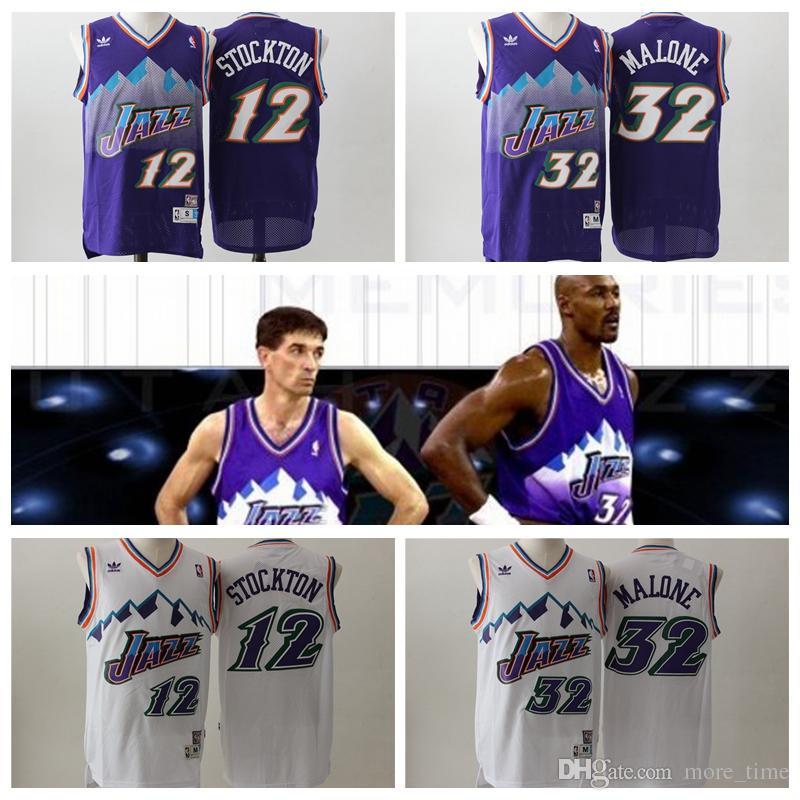 on sale 0cb1e aa5a0 Retro Classic Utah Jazzes Basketball Jerseys #12 John Stockton #32 Karl  Malone Jersey Stitched Embroidery Retro Classic Mesh Shirts