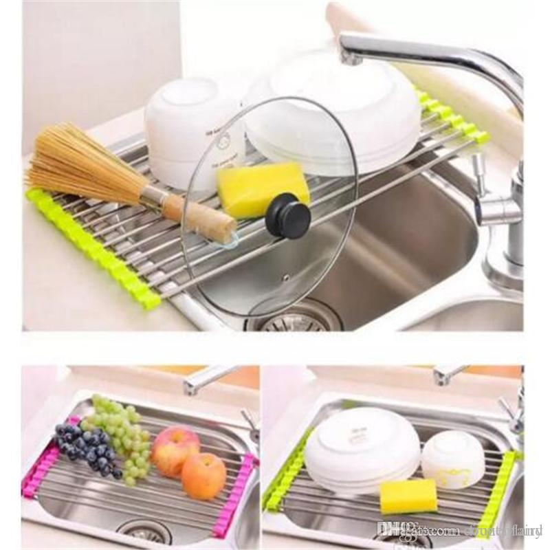 2019 Kitchen Sink Dish Rack Drainer 37 X 23CM Stainless Steel Silicone Non  Slip Folding Drying Rack Holder For Bowl Fruit Vegetable Sticks From  Countryland, ...